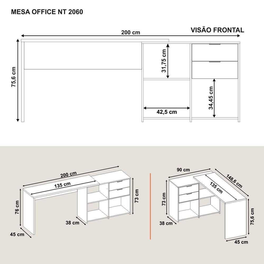 Conjunto para escritório com Mesa NT2060 e Armários NT2050 Cor Preto Notável Móveis