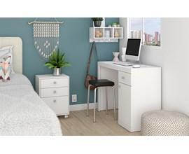 Conjunto Para Quarto 3 Peças com Criado Mudo, Escrivaninha e Nicho Bkd 05 Branco Brv Móveis