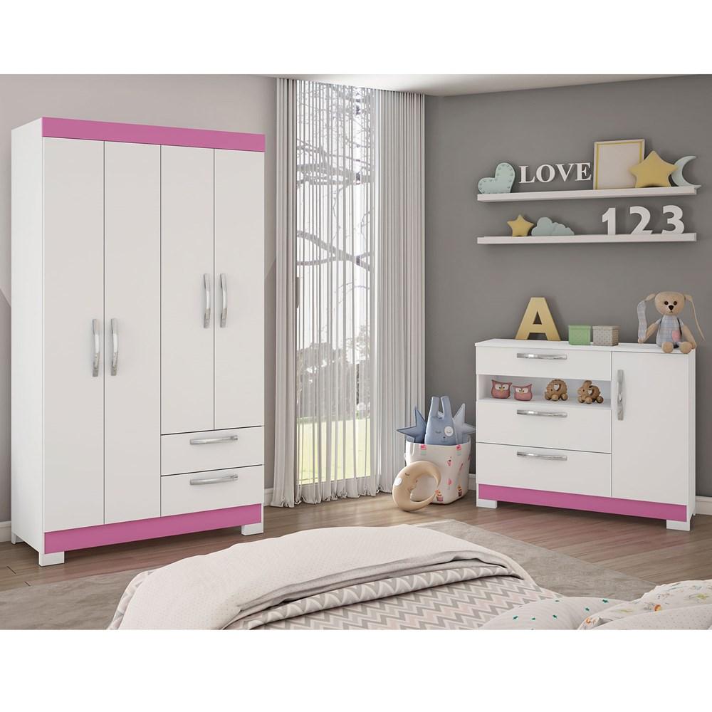 Conjunto Para Quarto com Guarda-Roupa e Cômoda Branco com Rosa Notável Móveis