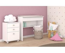 Conjunto Para Quarto Infantil 2 Peças Criado Mudo e Escrivaninha Bki 08 Branco Brv Móveis