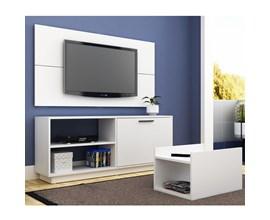 Conjunto Para Sala com Rack, Painel Para Tv e Mesa de Centro Branco Brv Móveis