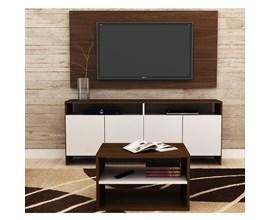 Conjunto Para Sala com Rack, Painel Para Tv e Mesa de Centro Castanho com Branco Brv Móveis