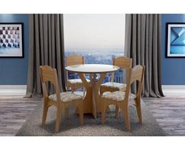 Conjunto Sala de Jantar Mesa Redonda com 4 Cadeiras Dalla Costa