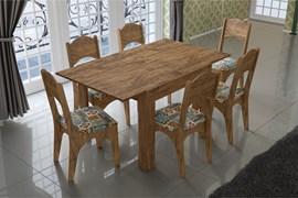 Conjunto Sala de Jantar Mesa Retangular com 6 Cadeiras Assento Estofado
