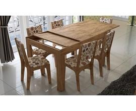 Conjunto Sala de Jantar Mesa Retangular Extensível com 6 Cadeiras Estofadas Dalla Costa