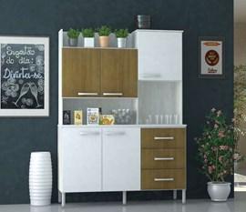 Cozinha Compacta 5 Portas e 3 Gavetas  CRIS Ártico / Branco Luciane