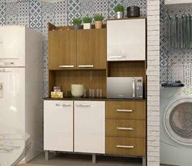 Cozinha Compacta 5 Portas e 3 Gavetas  CRIS Ipê / Branco / Ipê Luciane
