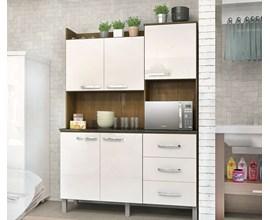 Cozinha Compacta 5 Portas e 3 Gavetas  CRIS Ipê / Branco Luciane