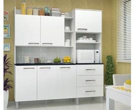 Cozinha Compacta 6 Portas e 3 Gavetas  Laila Ártico / Branco Luciane