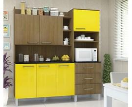 Cozinha Compacta 6 Portas e 3 Gavetas  Laila Ipê / Amarelo Luciane