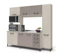 Cozinha Compacta 7 Portas 3 Gavetas Amêndoa/Moka/Azulejo E780 Kappesberg