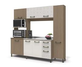Cozinha Compacta 7 Portas 3 Gavetas Nature, Branco e Azulejo E780 Kappesberg
