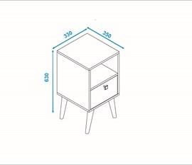 Criado Mudo BPP01 Palito Branco/ Pinhão Palito BRV Móveis