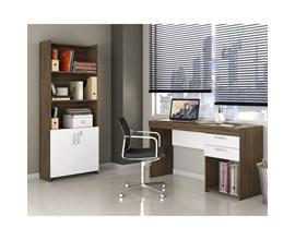 Escritório Compacto 2 Peças Office Nogal com Branco Notável Móveis