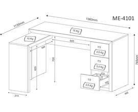 Escritório Compacto Completo 3 Peças Nogal Tecno Mobili