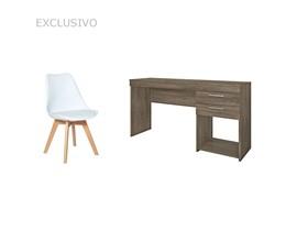 Escrivaninha Canela Para Quarto com Cadeira Leda Branca Estofada Casa Aberta Brasil