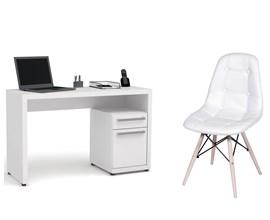 Escrivaninha S970 com Cadeira Botonê Branca Casa Aberta Brasil