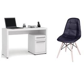 Escrivaninha S970 com Cadeira Botonê Preta Casa Aberta Brasil