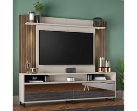 Estante Home Nt 1080 Para Tv Até  55 Polegadas Off White e Nogal Notável Móveis