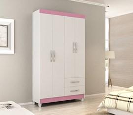 Guarda-Roupa 4 Portas e 2 Gavetas Domani Branco / Rosa Notável Móveis