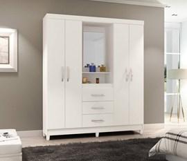 Guarda-Roupa 4 Portas e 3 Gavetas com Espelho Capelinha New Branco Notável Móveis