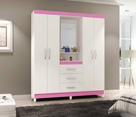 Guarda-Roupa 4 Portas e 3 Gavetas com Espelho Capelinha New Branco / Rosa Notável Móveis
