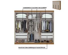 Guarda-roupa Castellaro Casal 6 portas 4 gavetas Cor Rovere Naturale e Off White Móveis Lopas