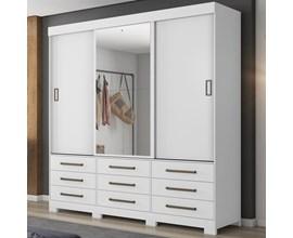 Guarda-Roupa com 3 Portas de Correr, 9 Gavetas e Espelho Branco Nt5030 Notável Móveis