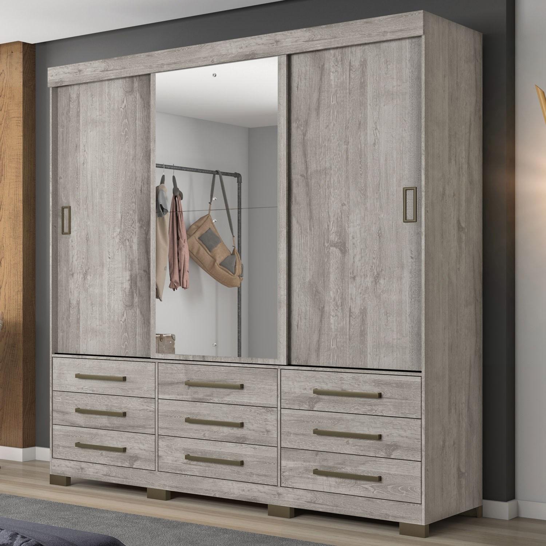 Guarda-Roupa com 3 Portas de Correr, 9 Gavetas e Espelho Nude NT5030 Notável Móveis