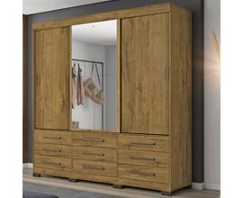 Guarda-Roupa com 3 Portas de Correr, 9 Gavetas e Espelho Rústico Nt5030 Notável Móveis