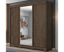 Guarda-Roupa com 3 Portas de Correr e Espelho Café Nt5020 Notável Móveis