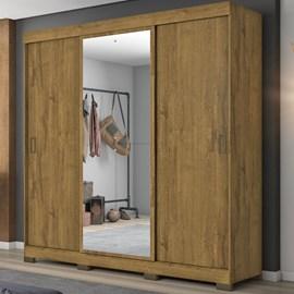 Guarda-Roupa com 3 Portas de Correr e Espelho Rústico Casa Aberta Brasil