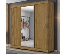 Guarda-Roupa com 3 Portas de Correr e Espelho Rústico Nt5020 Notável Móveis
