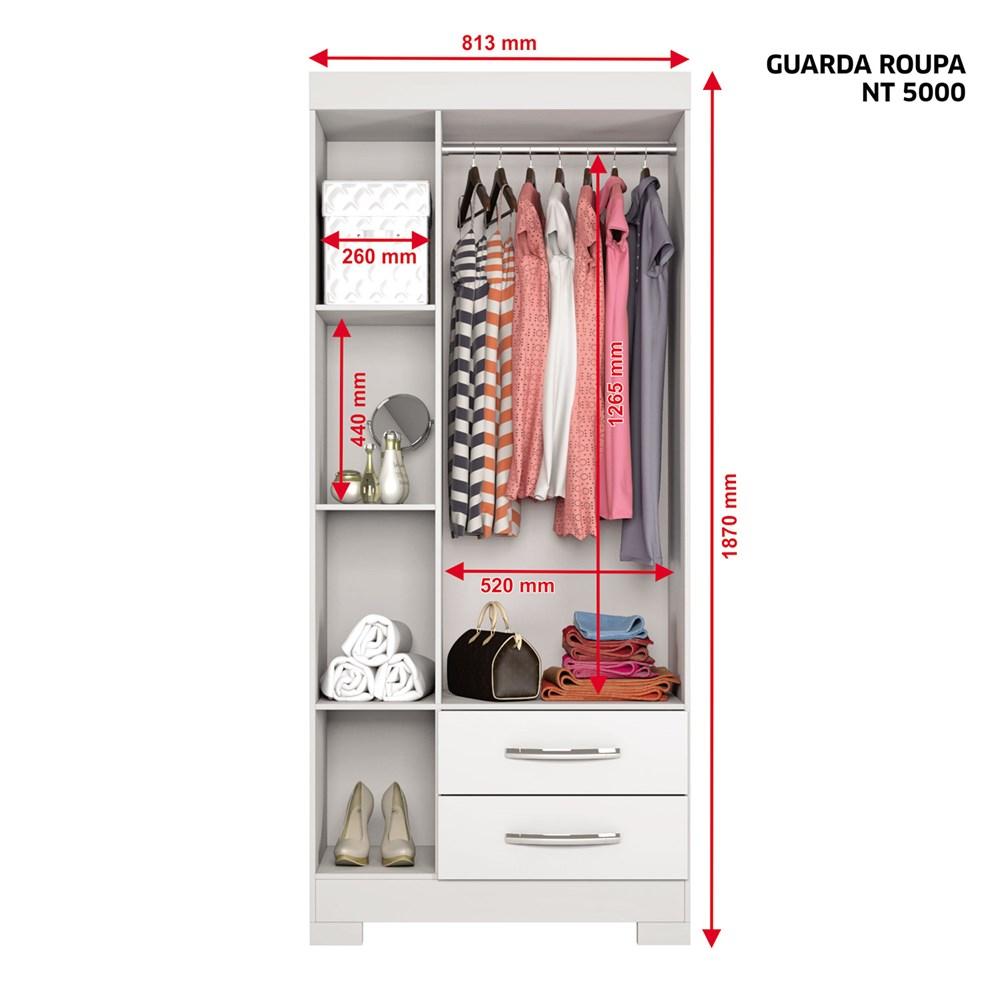 Guarda-Roupa com 3 Portas e 2 Gavetas Café Nt5000 Notável Móveis