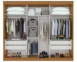 Guarda-roupa Speciale Casal 3 portas Cor Rovere Naturale e Off White Móveis Lopas