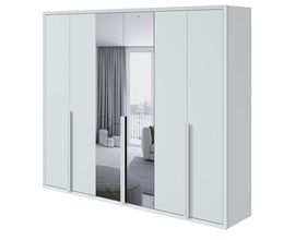 Guarda-roupa Unique Casal c/ espelho 6 portas Branco Móveis Lopas