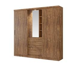 Guarda-Roupas Zeus 2 Portas de Correr e 1 de Abrir com Espelho Native Móveis Carraro