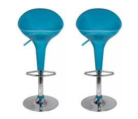 Kit 2 Banquetas em ABS Tulipa Lótus com Encosto Alto Azul Turquesa