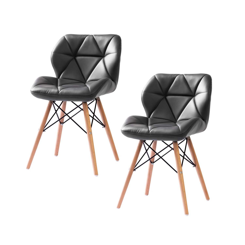 Kit 2 Cadeiras Eiffel para Penteadeira Estofada Cinza Base Madeira