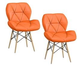 Kit 2 Cadeiras Slim Eiffel Estofada Laranja Base Madeira