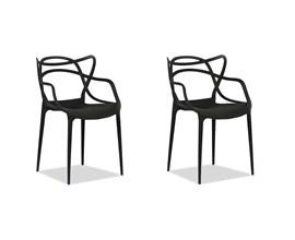 Kit com 2 Cadeiras Allegra Preta Casa Aberta Brasil