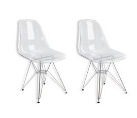Kit com 2 Cadeiras Charles Eames Eiffel Policarbonato Transparente