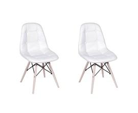 Kit com 2 Cadeiras Eames Botonê Base Eiffel de Madeira Branca