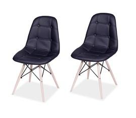 Kit com 2 Cadeiras Eames Botonê Base Eiffel de Madeira Preta