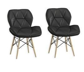 Kit com 2 Cadeiras Eiffel Estofada Preta Casa Aberta Brasil