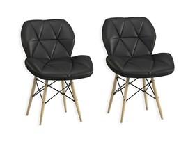 Kit com 2 Cadeiras Slim Eiffel Estofada Preta Casa Aberta Brasil