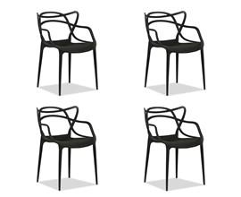 Kit com 4 Cadeiras Allegra Preta Casa Aberta Brasil