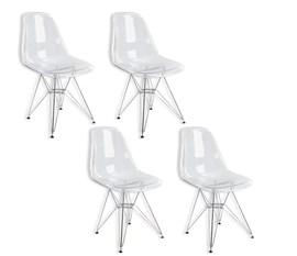 Kit com 4 Cadeiras Charles Eames Eiffel Policarbonato Transparente