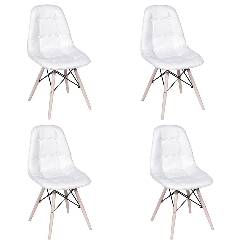 Kit com 4 Cadeiras Eames Botonê Base Eiffel de Madeira Branca