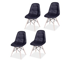 Kit com 4 Cadeiras Eames Botonê Base Eiffel de Madeira Preta